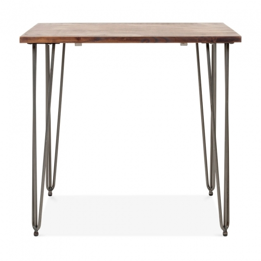 Cult Living Table Épingle Carré en Bois Foncé - Gunmetal 80cm