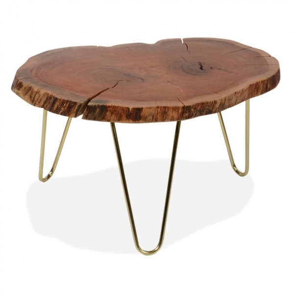 cult living table basse aux bords naturels olympia dalle de bois rcupr laiton - Table Ovale Scandinave2543