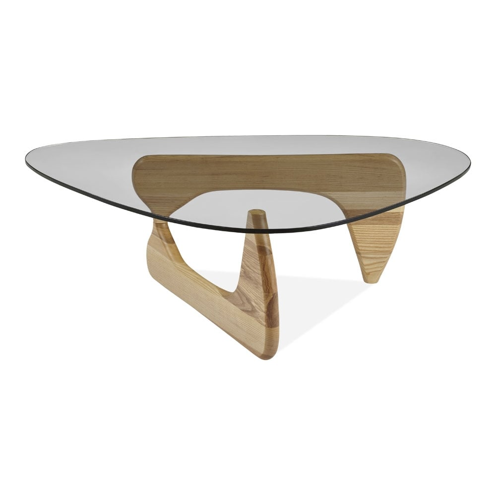 table basse avec dessus en verre century bois de fr ne en naturel cult fr. Black Bedroom Furniture Sets. Home Design Ideas