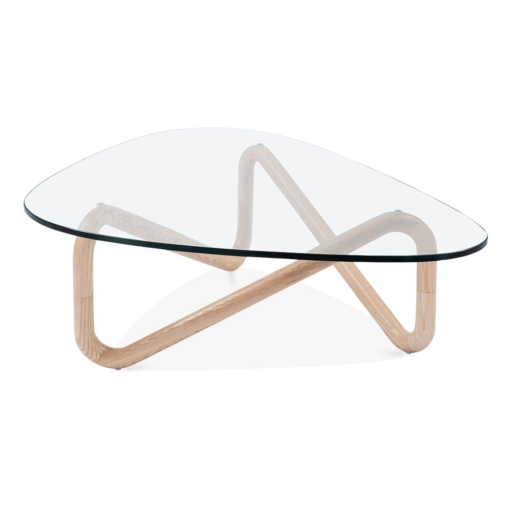 Table basse plaque de verre et base de bois infinity cult fr for Table basse en bois naturel