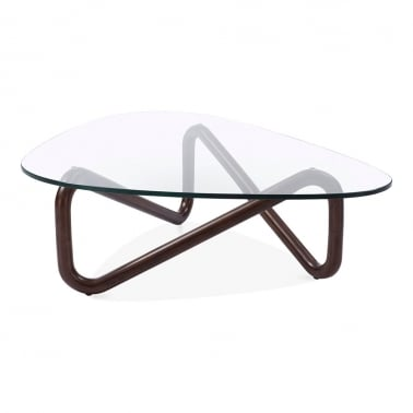 Table Basse en Verre Infinity, Noyer