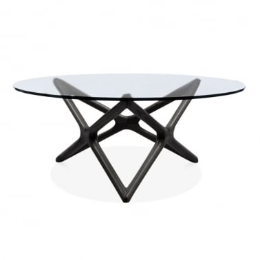 Table Basse en Verre Star, Noir 100cm