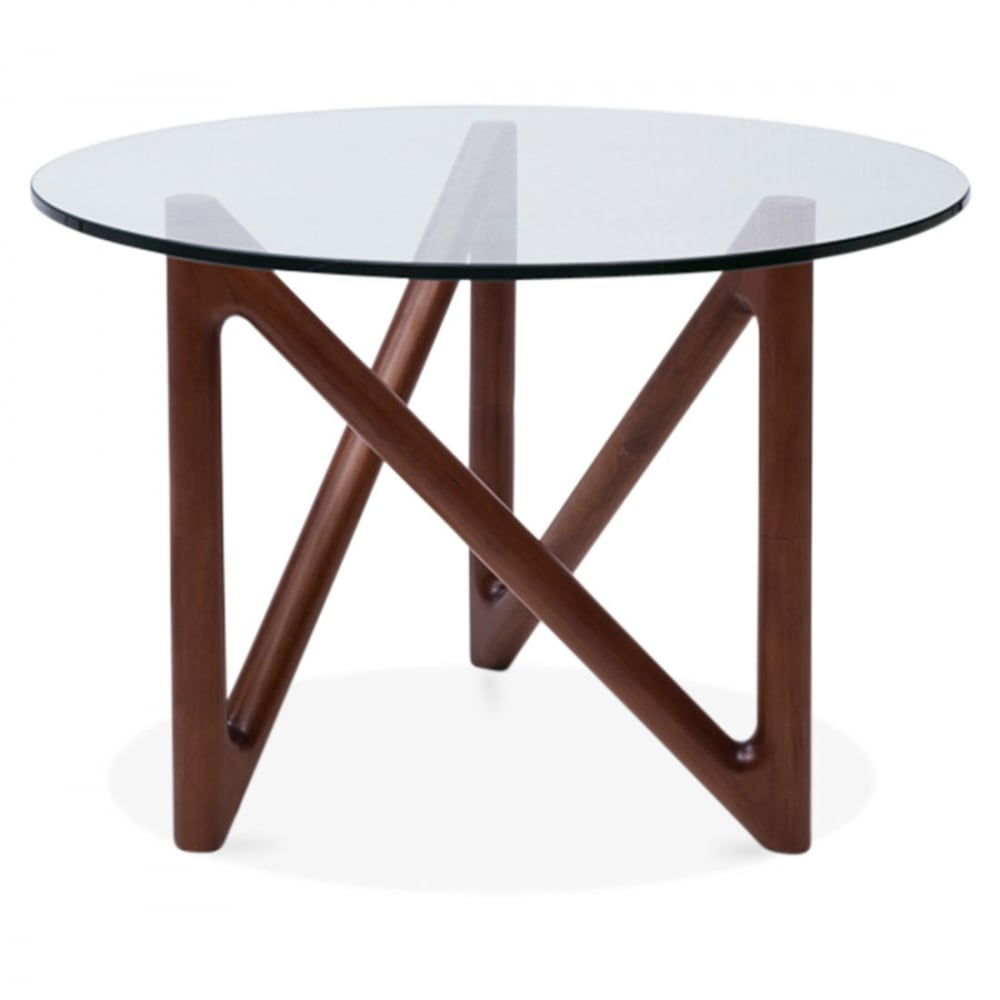 Table basse plateau en verre et base en noyer altra de for Table basse plateau