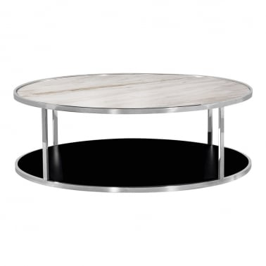 Table Basse Ronde Luxor, Dessus de Table en Marbre Blanc, Chrome