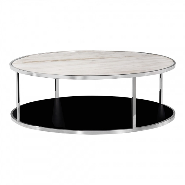 table basse ronde chrom e luxor avec dessus en marbre blanc tables basses. Black Bedroom Furniture Sets. Home Design Ideas