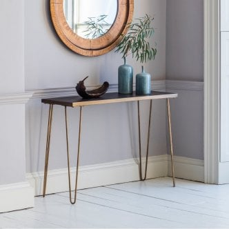 Table Console Contemporaine Bronx Carrelée en Céramique, Doré