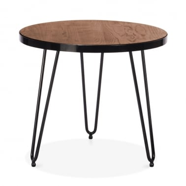 Table d'Appoint Ronde Hairpin - Noyer 61cm