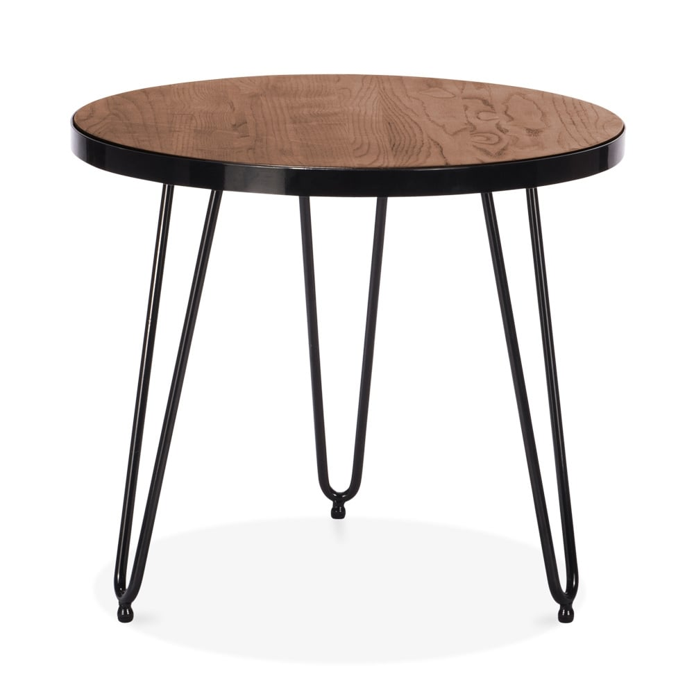 Table hairpin par cult living 61cm en noyer cult - Table d appoint ronde ...