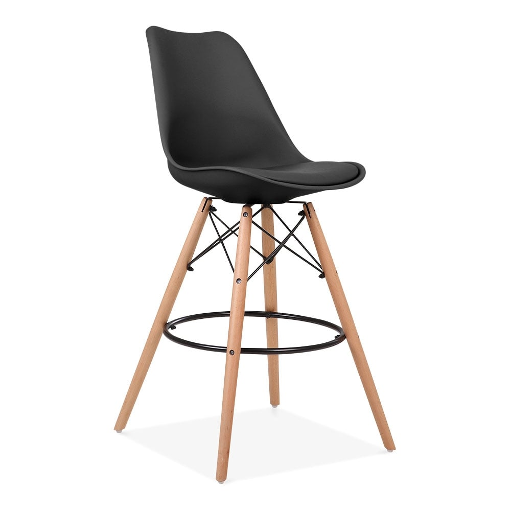 noir 65cm tabouret de bar avec pieds en bois style dsw tabouret de bar. Black Bedroom Furniture Sets. Home Design Ideas