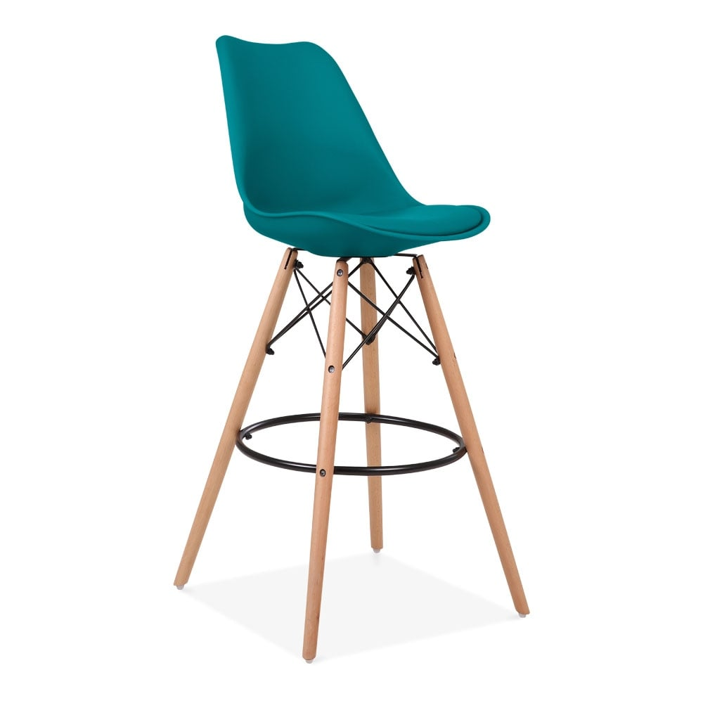 tabouret de bar bleu marine 75cm avec pied style eames. Black Bedroom Furniture Sets. Home Design Ideas