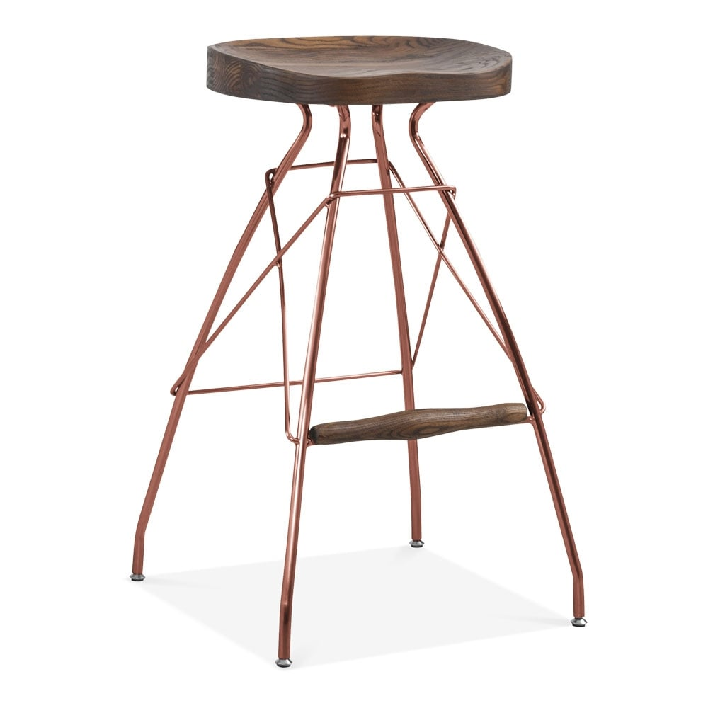 tabouret de bar atlas en m tal et bois cuivre tabouret de bar moderne. Black Bedroom Furniture Sets. Home Design Ideas