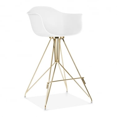 Tabouret de Bar avec Accoudoirs Moda CD1 - Blanc