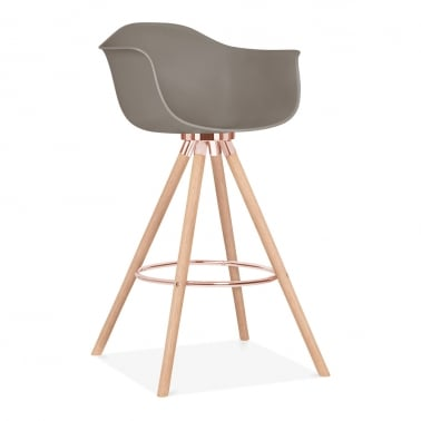Tabouret de Bar avec Accoudoirs Moda CD2 - Gris Chaud