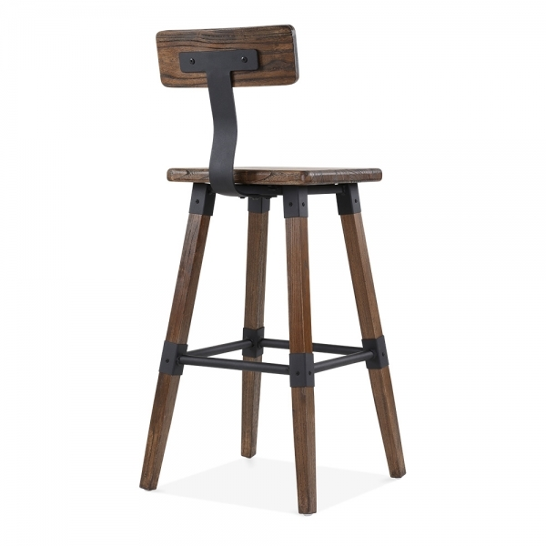 tabouret de bar carr marron bastille avec dossier cult fr. Black Bedroom Furniture Sets. Home Design Ideas