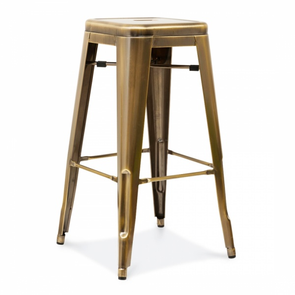 tabouret de bar en m tal tolix style 75cm en laiton. Black Bedroom Furniture Sets. Home Design Ideas