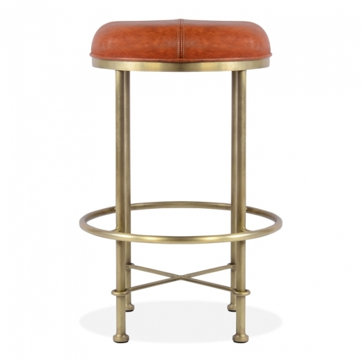 Cult Living Tabouret de Bar Duke, Faux Cuir, Brun 65cm