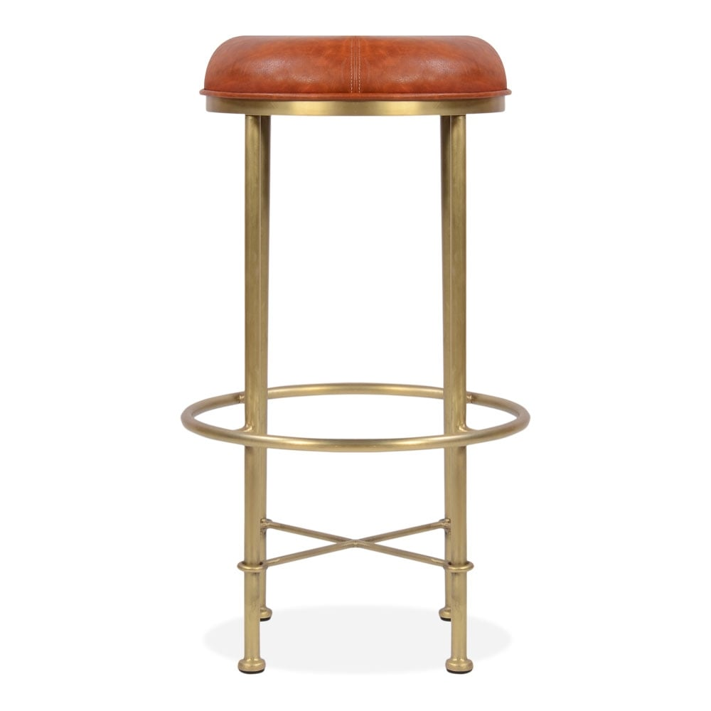 tabouret de bar duke en faux cuir brun 75cm tabouret de cuisine moderne. Black Bedroom Furniture Sets. Home Design Ideas