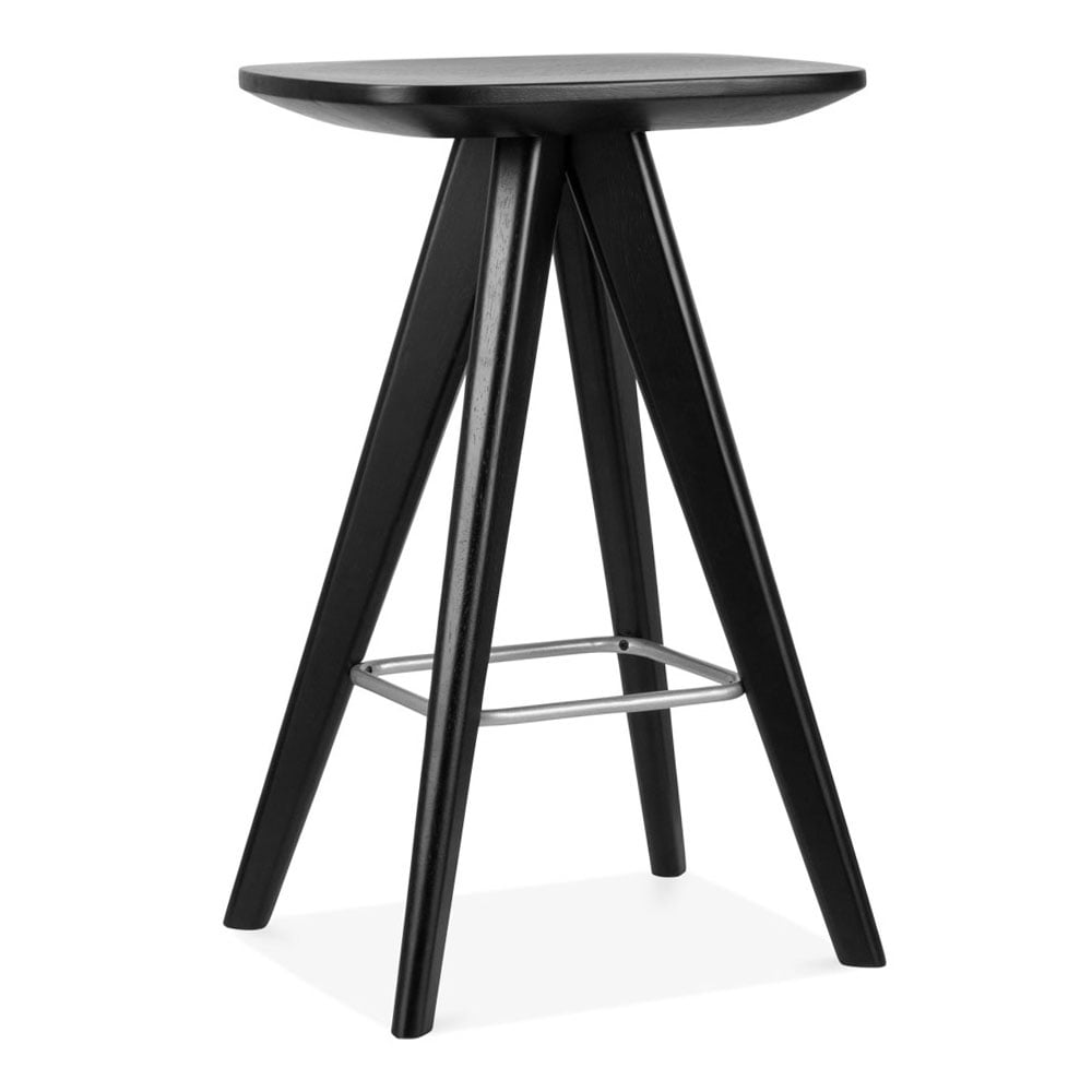noir tabouret de bar en bois argo 66cm tabourets de bar moderne. Black Bedroom Furniture Sets. Home Design Ideas
