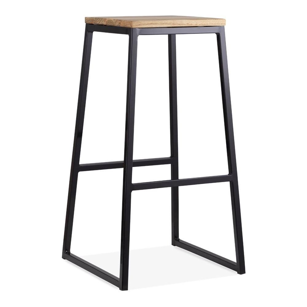tabouret consec avec si ge en bois naturel noir 75cm cult fr. Black Bedroom Furniture Sets. Home Design Ideas