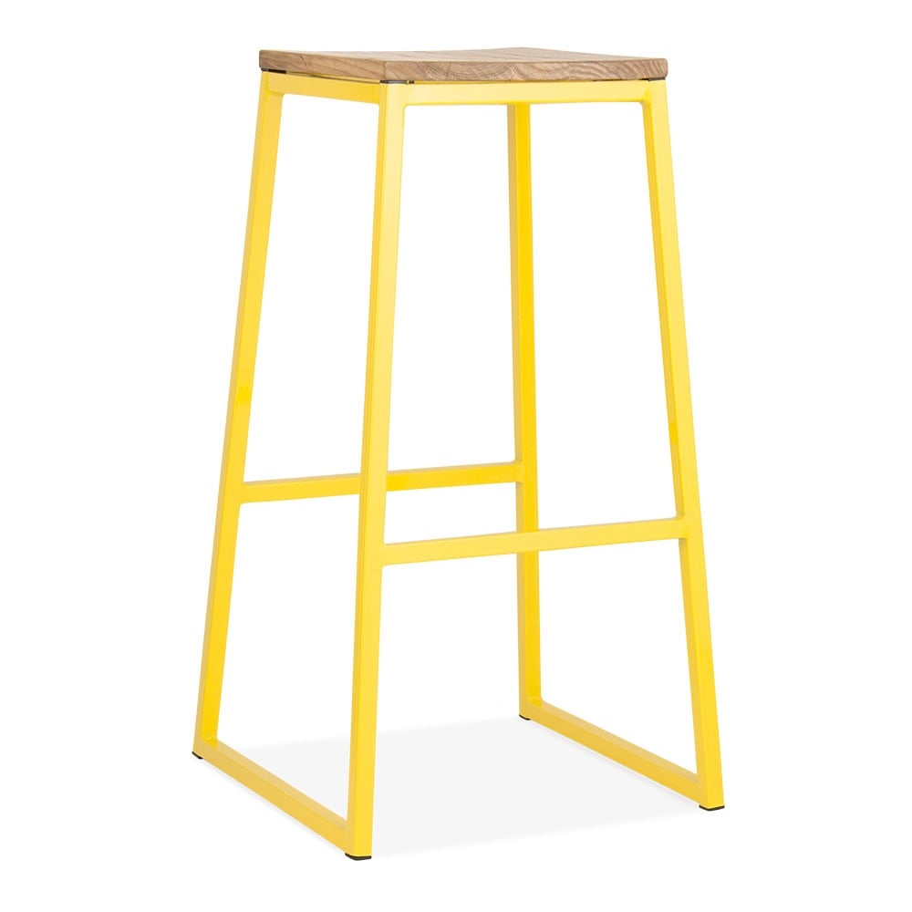 jaune 75cm tabouret de bar en m tal consec solide bois d 39 orme cult furniture fr. Black Bedroom Furniture Sets. Home Design Ideas