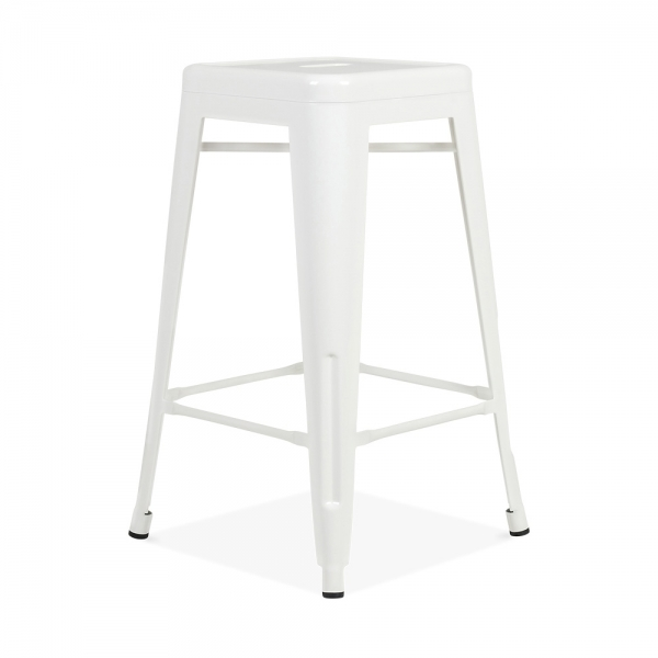tabouret de style tolix blanc 65cm tabourets de. Black Bedroom Furniture Sets. Home Design Ideas