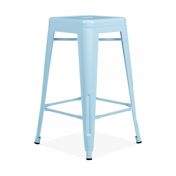 tabouret de style tolix bleu pastel 65cm tabourets design cult fr. Black Bedroom Furniture Sets. Home Design Ideas