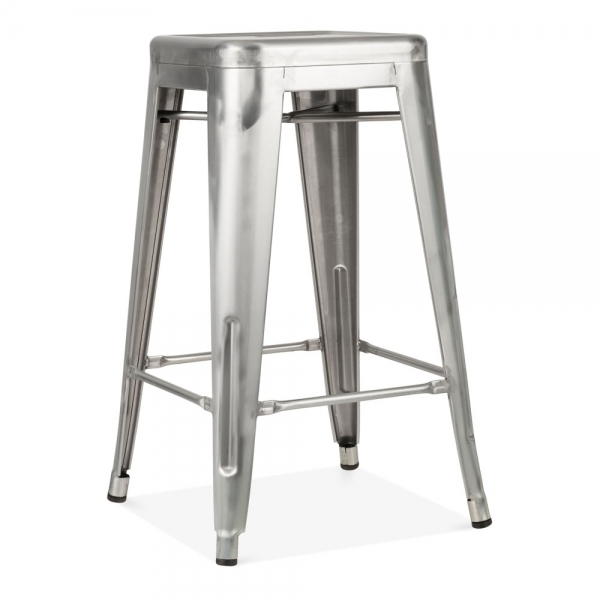 tabouret de style tolix en gris acier brut de 65cm cult furniture. Black Bedroom Furniture Sets. Home Design Ideas