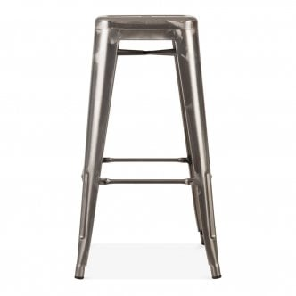 tabouret de style tolix gunmetal avec assise en bois. Black Bedroom Furniture Sets. Home Design Ideas