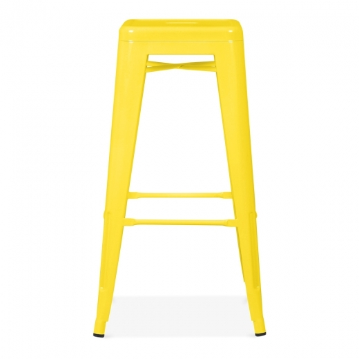 tabouret industriel de style tolix en jaune de 75cm cult furniture. Black Bedroom Furniture Sets. Home Design Ideas