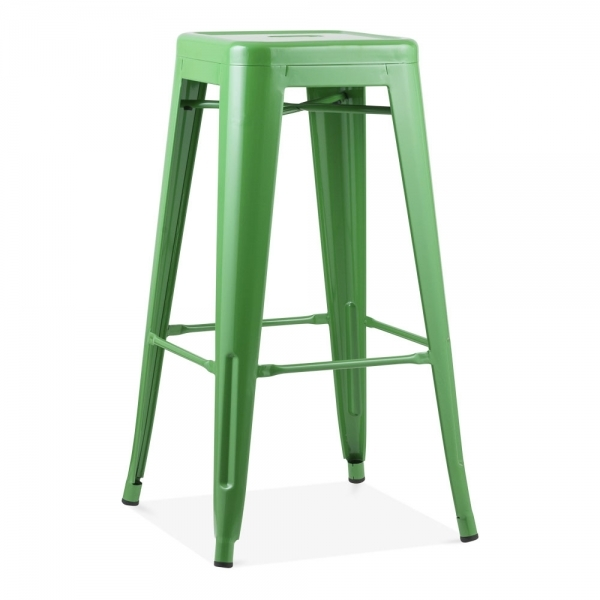 Tolix Style Metal Bar Stool   Green 75cm