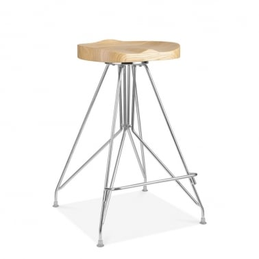 Tabouret de Bar en Métal Moda CD1, Assise en Bois Frêne, Chrome 66cm