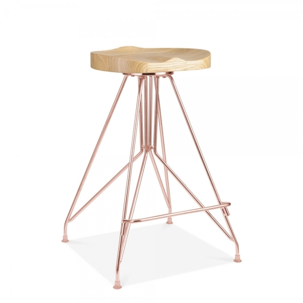 cuivre 66cm tabouret de bar en m tal moda cd1 assise en bois fr ne cult fr. Black Bedroom Furniture Sets. Home Design Ideas