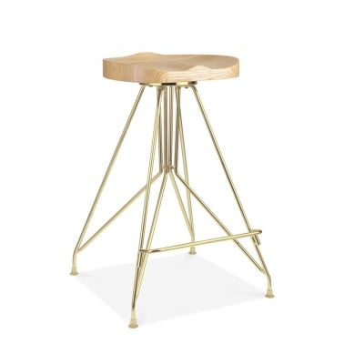 Tabouret de Bar en Métal Moda CD1, Assise en Bois Frêne, Or 66cm