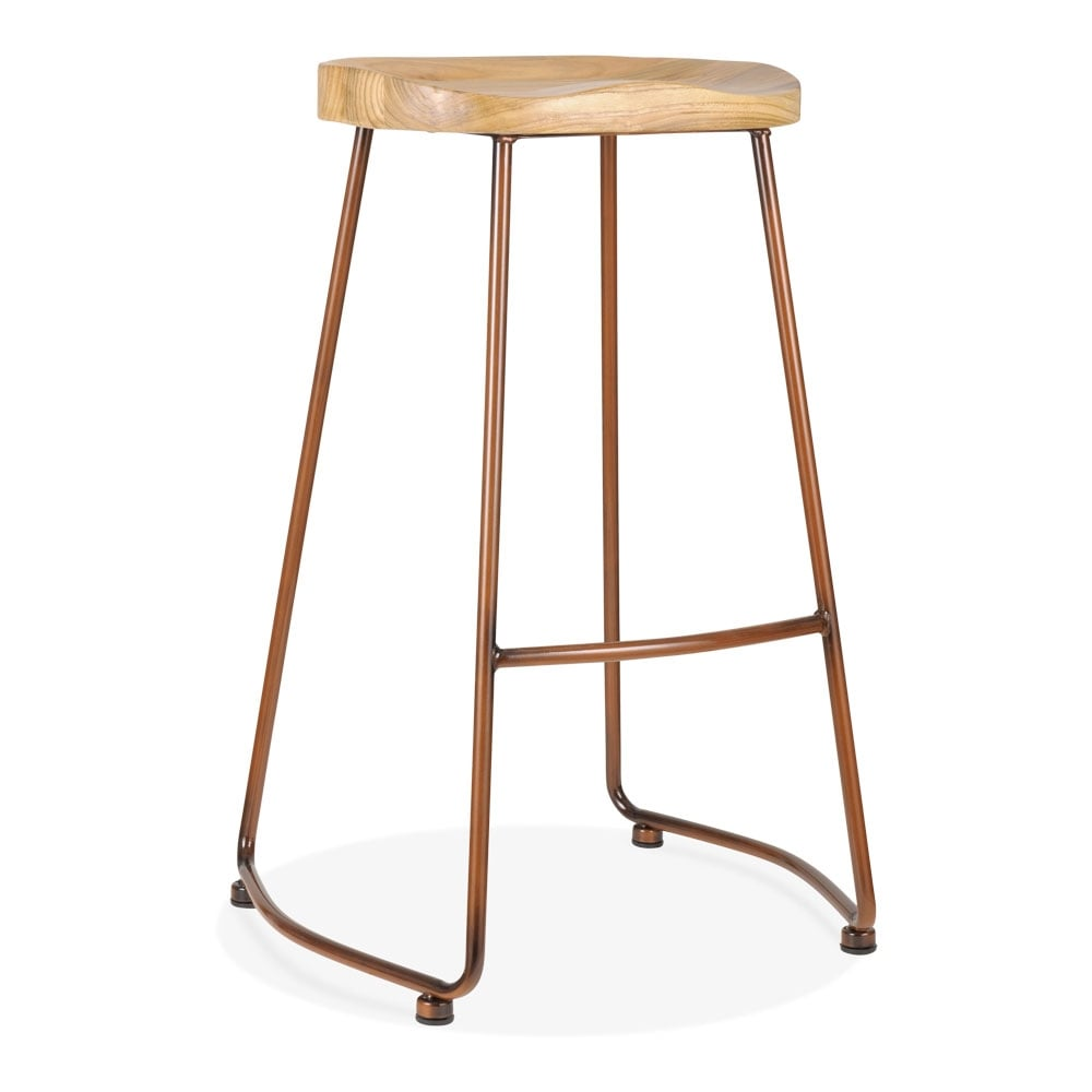 jaune 65cm tabouret de bar en m tal victoria bois d 39 orme massif cult fr. Black Bedroom Furniture Sets. Home Design Ideas