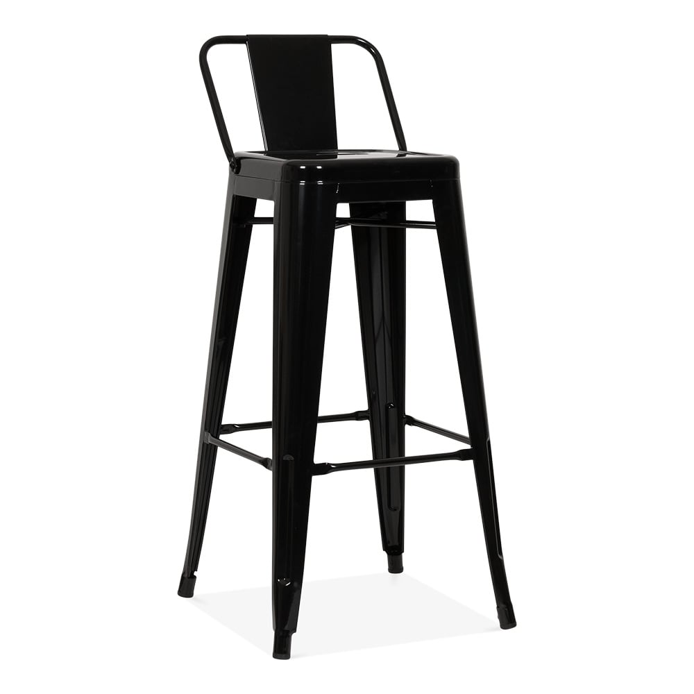 tabouret de bar m tallique avec dossier bas noir 75cm. Black Bedroom Furniture Sets. Home Design Ideas