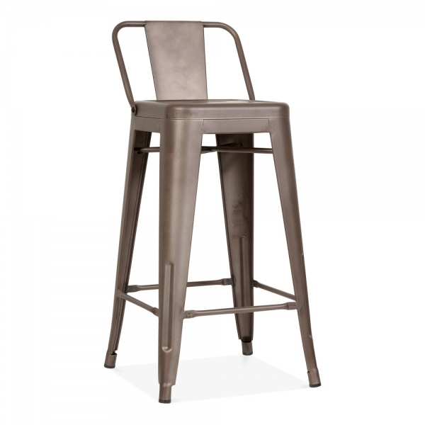 tabouret de bar m tallique avec dossier bas en rustique 65cm cult fr. Black Bedroom Furniture Sets. Home Design Ideas