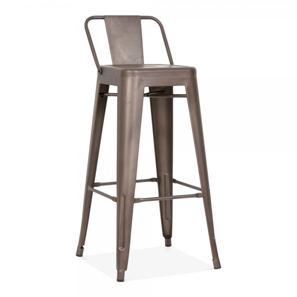 tabouret de bar m tallique avec dossier bas en rustique 75cm cult fr. Black Bedroom Furniture Sets. Home Design Ideas