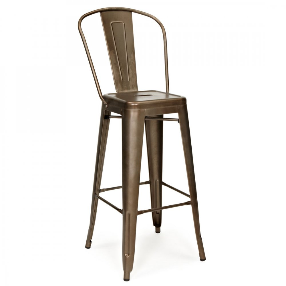 rustique 65cm tabouret de bar m tallique avec haut dossier cult fr. Black Bedroom Furniture Sets. Home Design Ideas