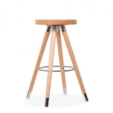 Tabouret de Bar Moda CD2, Bois Massif, Naturel 65cm