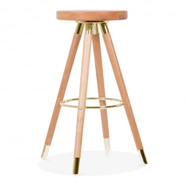 Tabouret de Bar Moda CD2, Bois Massif, Naturel 75cm