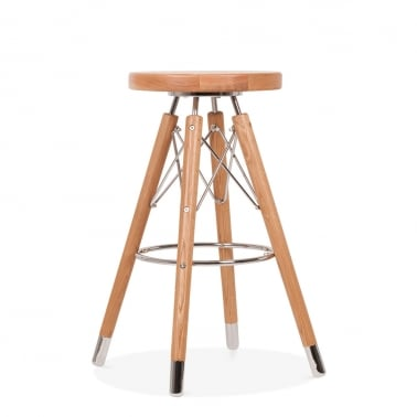 Tabouret de Bar Moda CD3, Bois Massif, Naturel 65cm