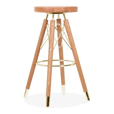 Tabouret de Bar Moda CD3, Bois Massif, Naturel 75cm