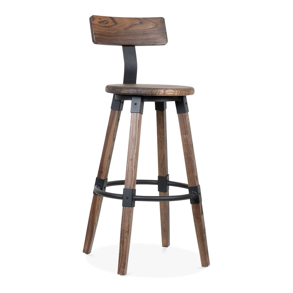 tabouret de bar rond brum bastille avec dossier cult fr. Black Bedroom Furniture Sets. Home Design Ideas