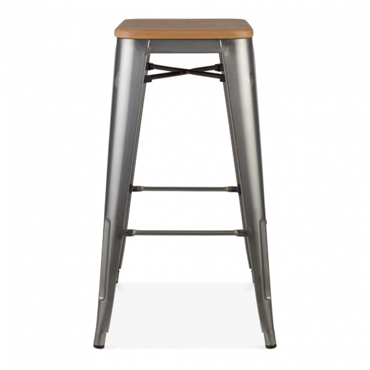 tabouret de style tolix avec assise en bois gunmetal 75cm cult fr. Black Bedroom Furniture Sets. Home Design Ideas