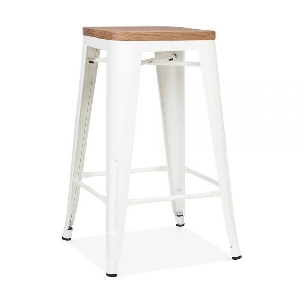 tabouret de style tolix en blanc avec assise en bois. Black Bedroom Furniture Sets. Home Design Ideas