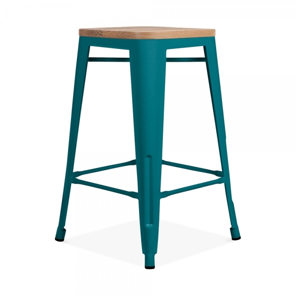 tabouret de style tolix 65cm en bleu sarcelle avec assise en naturel. Black Bedroom Furniture Sets. Home Design Ideas