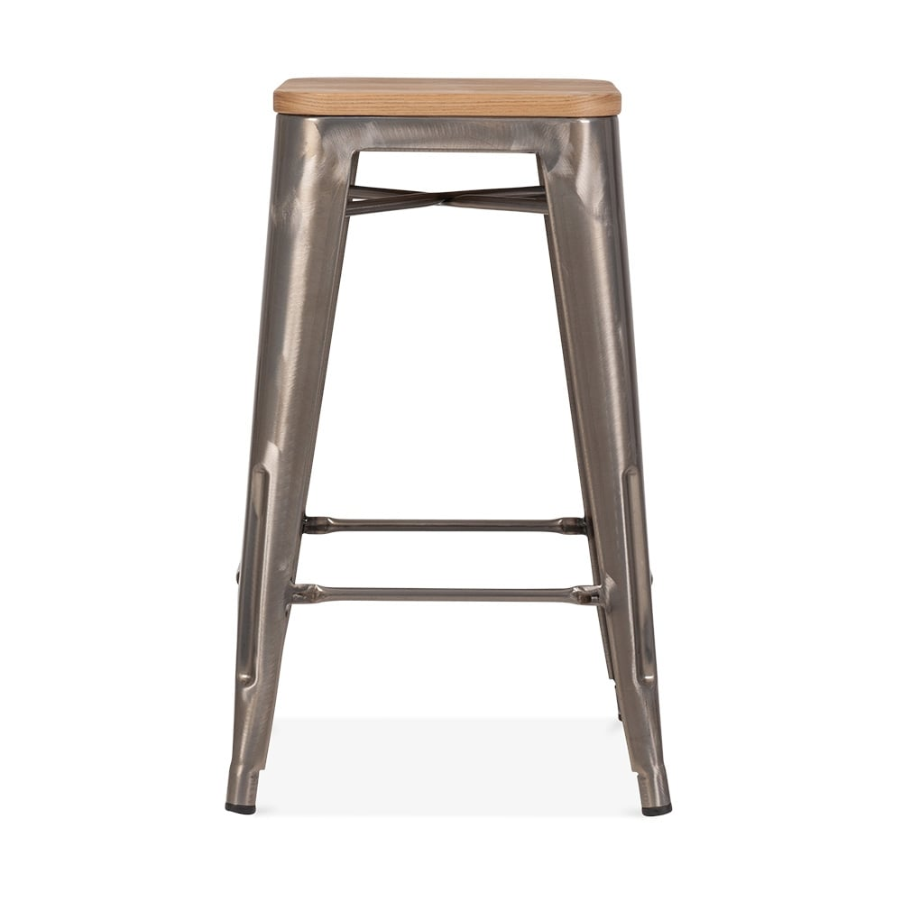 tabouret de style tolix gunmetal avec assise en bois naturel cult fr. Black Bedroom Furniture Sets. Home Design Ideas