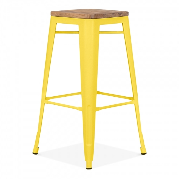 tabouret de style tolix en jaune avec assise en bois. Black Bedroom Furniture Sets. Home Design Ideas