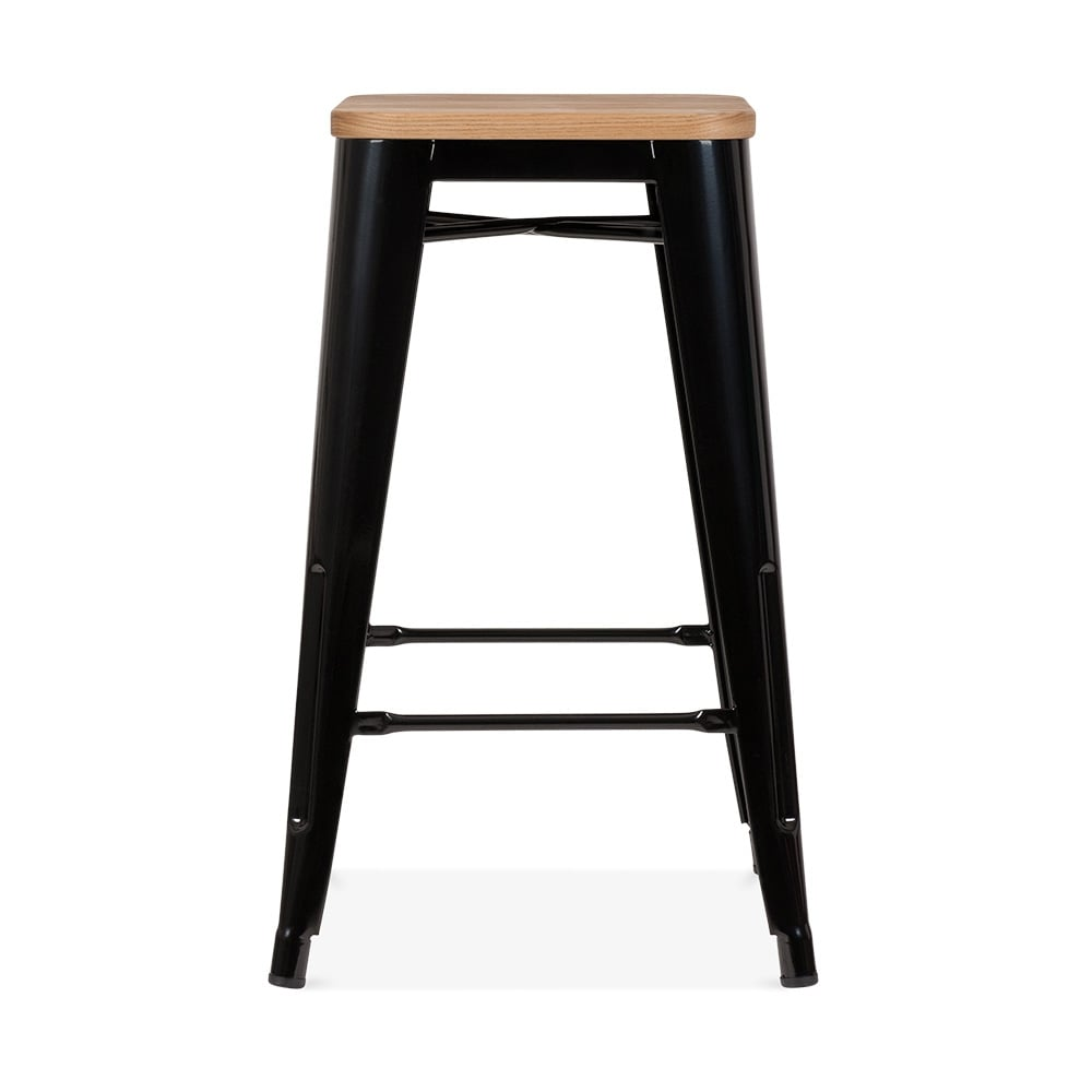 tabouret de style tolix en noir avec assise en bois naturel cult fr. Black Bedroom Furniture Sets. Home Design Ideas