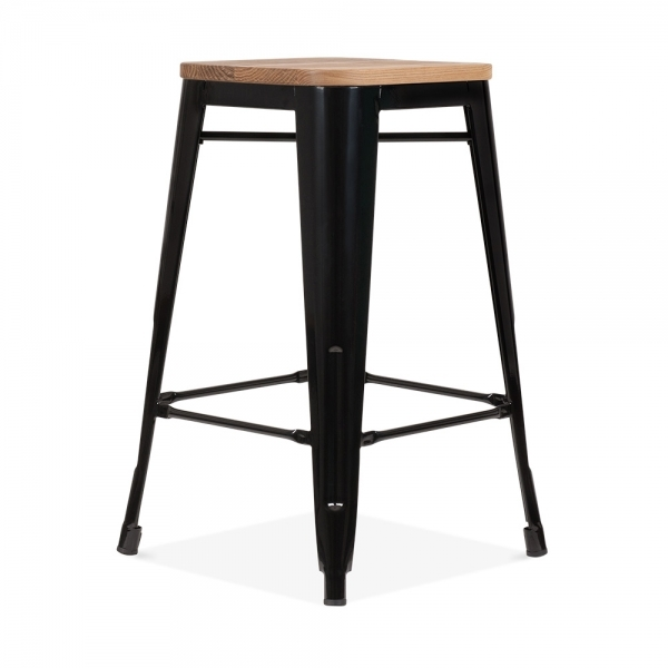 tabouret de style tolix en noir avec assise en bois. Black Bedroom Furniture Sets. Home Design Ideas